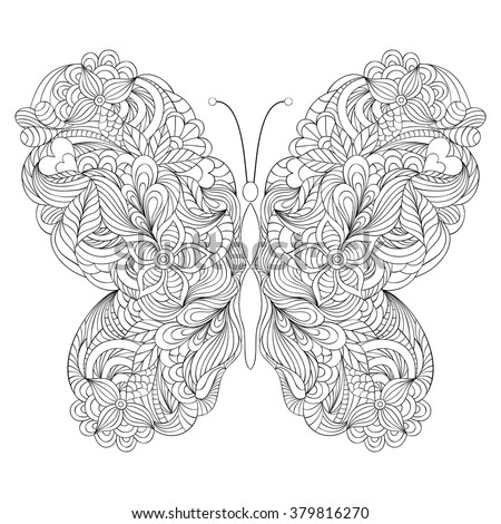 Vector illustration of abstract butterfly on white background.Coloring page for adult. - stock vector