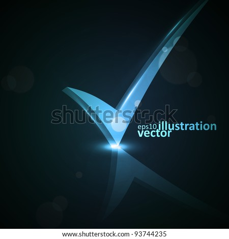 Vector illustration of abstract checkmark on colorful background eps10 - stock vector