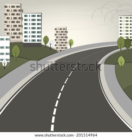 Vector illustration of abstract city landscape with wide road - stock vector