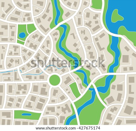 vector illustration of abstract city map - stock vector