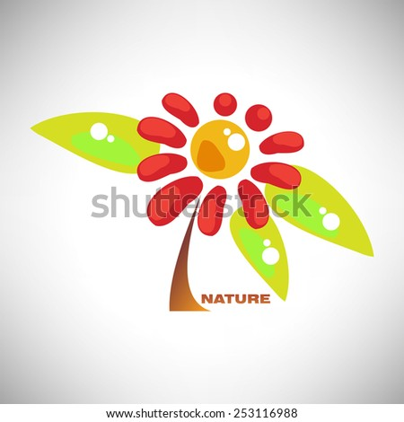 Vector illustration of abstract colorful camomile flower with leaf - stock vector