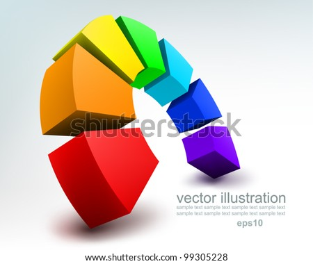 Vector Illustration of abstract colorful 3d rainbow, logo design - stock vector
