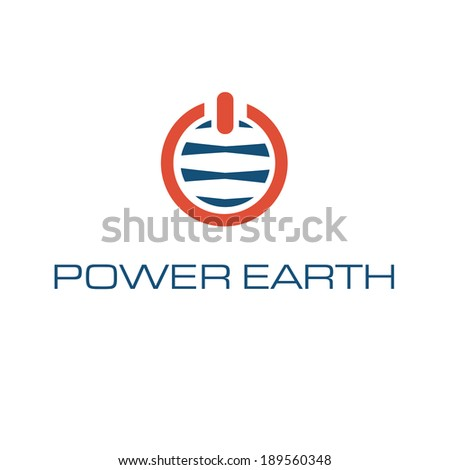 vector illustration of abstract earth with power button - stock vector