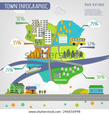Vector illustration of abstract eco town infographics. Vector image. - stock vector