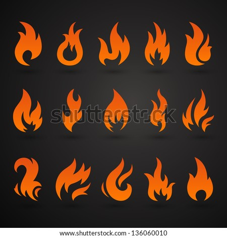 Vector Illustration of Abstract Fire Icons - stock vector