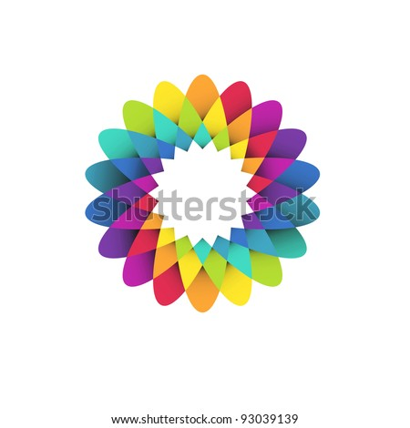 vector illustration of abstract geometric rainbow flower logo - stock vector