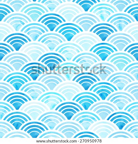 Vector illustration of abstract geometric seamless pattern with blue watercolor circles - stock vector