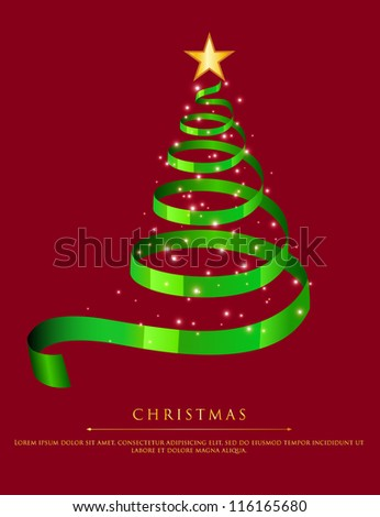 Vector illustration of Abstract green christmas tree - stock vector
