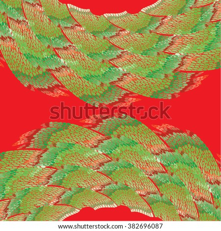 Vector illustration of abstract green & red hand drawn graphic pattern / background. Shells, peelings, lines, distressed, distorted, grunge image, doodle waves, mountains, landscape.