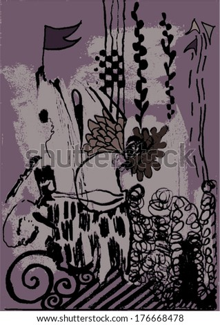 Vector illustration of abstract greyscale / black and white / purple hand drawn image. Imagination, flag, nightmare, swirls. - stock vector