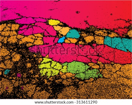 Vector illustration of abstract grunge texture. Pattern, wallpaper, rainbow, spectrum, colorful. Distressed, distorted graphic backdrop. - stock vector