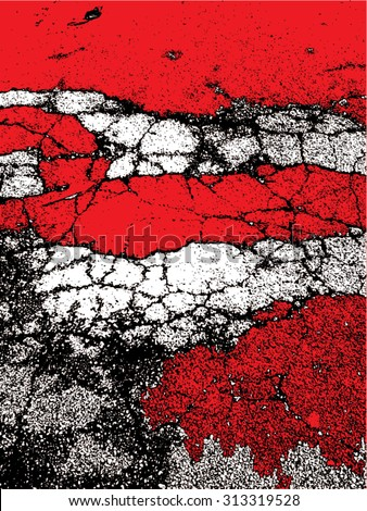 Vector illustration of abstract grunge texture. Pattern, wallpaper, red, black, white. Distressed, distorted graphic backdrop. - stock vector