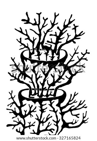 Vector illustration of abstract hand drawn trees growing out of trees. Branches, twigs, antlers, mushroom, coral. Black & white. Matisse inspired. - stock vector