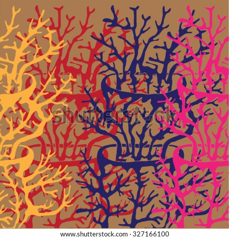 Vector illustration of abstract hand drawn trees growing out of trees. Branches, twigs, antlers, mushroom, coral. Brown, orange, pink, red. Matisse inspired. Background, pattern, texture.