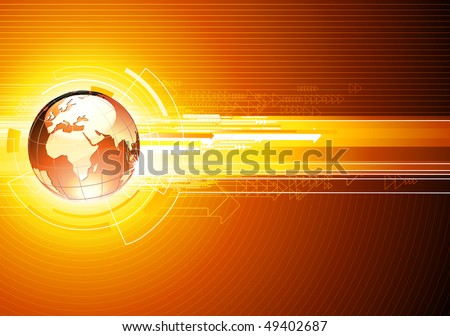 Vector illustration of abstract hi-tech Background with Glossy Earth Globe - stock vector