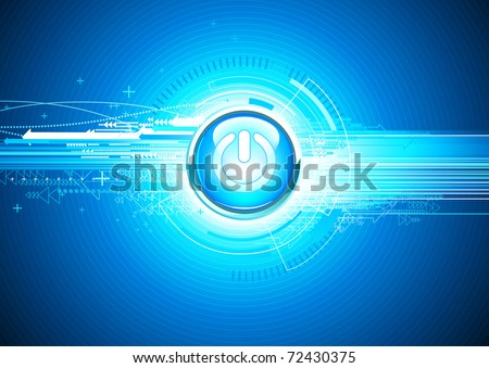 Vector illustration of abstract hi-tech Background with Glossy power button