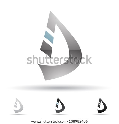 Vector illustration of abstract icons of letter D - Set 8