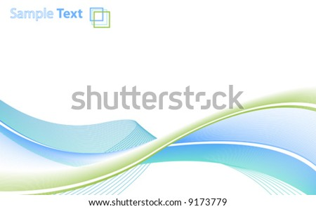 Vector illustration of abstract lined art on a blank white background with template logo or ad message in the corner. Clean. Wallpaper horizontal - stock vector