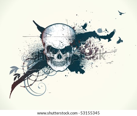 Vector illustration of abstract messy background with grunge Design elements and detailed human skull - stock vector