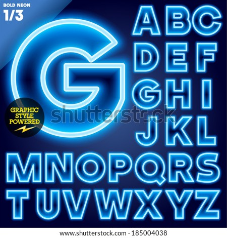 Vector illustration of abstract neon tube alphabet for light board. Ultra bold Blue - stock vector