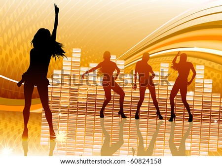 Vector illustration of abstract party Background with dancing girl silhouettes - stock vector