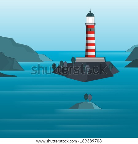 Vector illustration of abstract seascape with lighthouse - stock vector