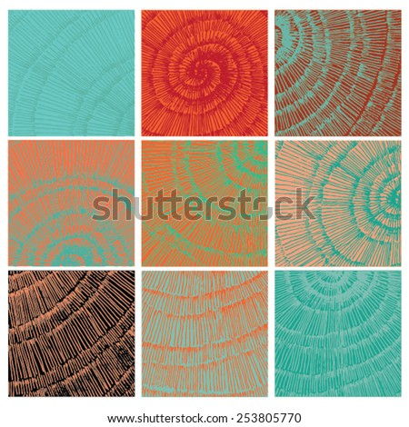 Vector illustration of abstract spiral distorted grunge background. Hand drawn image. Six different spiral images, mosaic, colorful. - stock vector