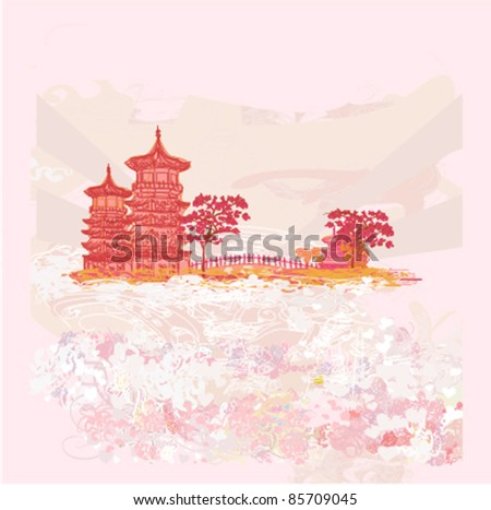 Vector illustration of abstract styled Decorative Traditional Japanese background