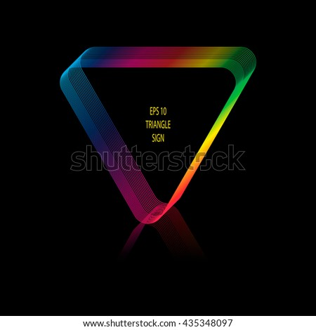 Vector illustration of abstract triangular frame. Frame created by lines . Spectral colors. Reflection below triangle. Black background