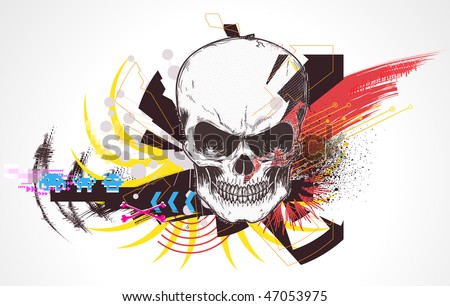 Vector illustration of abstract urban background with colorful grunge Design elements and detailed human skull