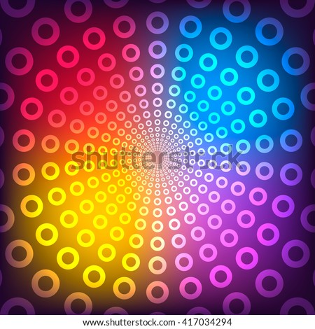 Vector illustration of abstract vector background. Colored circles with neon effect