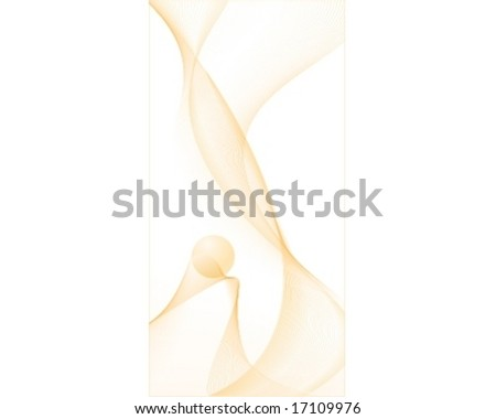 Vector illustration of abstract waves with a sphere using step blends and 8 global color shades of white to orange - stock vector