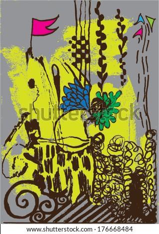 Vector illustration of abstract yellow / grey hand drawn image. Imagination, flag, nightmare, swirls. - stock vector