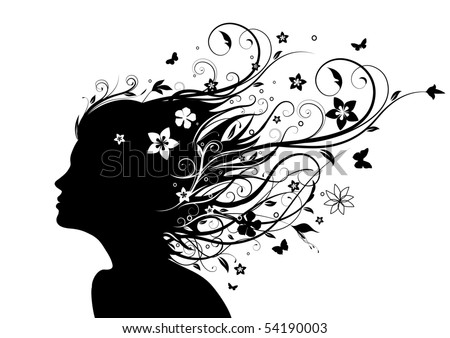 Vector illustration of abstract Young girl face silhouette in profile with long floral hair - stock vector