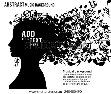 Vector illustration of abstract Young girl face silhouette in profile with musical hair - stock vector