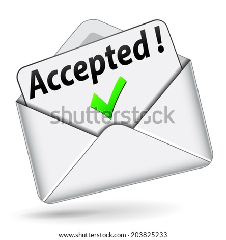 Vector illustration of accepted envelope icon on white background