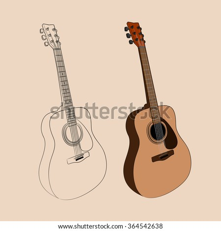 vector illustration of acoustic guitar - stock vector