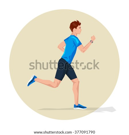 Vector illustration of Active sporty young running man athlete with smart watch. Sport health fitness loss weight cardio training workout and wellness concept.  - stock vector