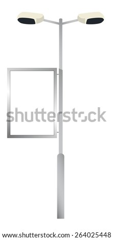 Vector illustration of advertising billboard - Streetlights advertising. - stock vector
