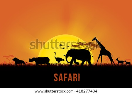 Vector illustration of Africa landscape with wildlife and sunset background. Safari theme - stock vector