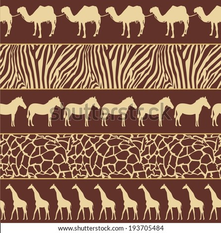 Vector illustration of African style seamless pattern with wild animals - stock vector