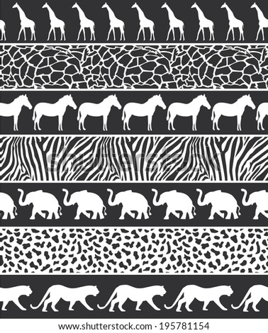 Vector illustration of African style seamless pattern with wild animals black-white - stock vector