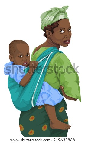 Vector illustration of african woman giving piggyback ride to son. - stock vector