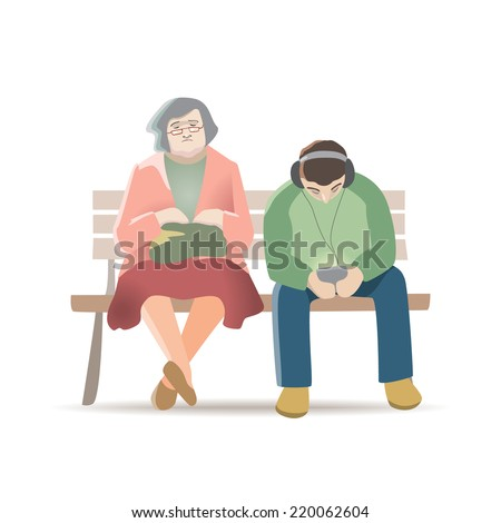 Vector illustration of aged woman and young man sitting on a park bench, showing the generation gap.