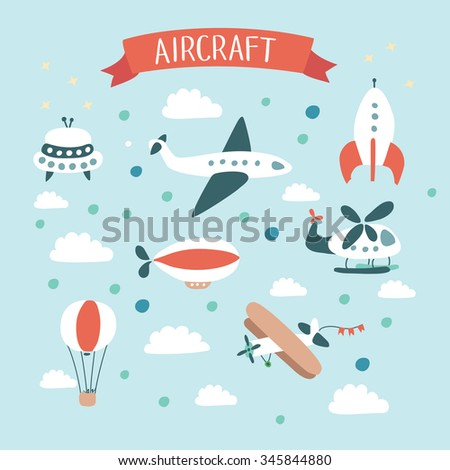 Vector illustration of air crafts set - stock vector