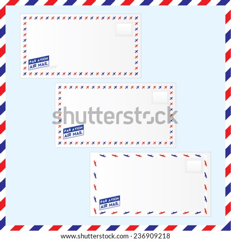 Vector illustration of air mail envelopes with stamp area and air mail stamp - stock vector