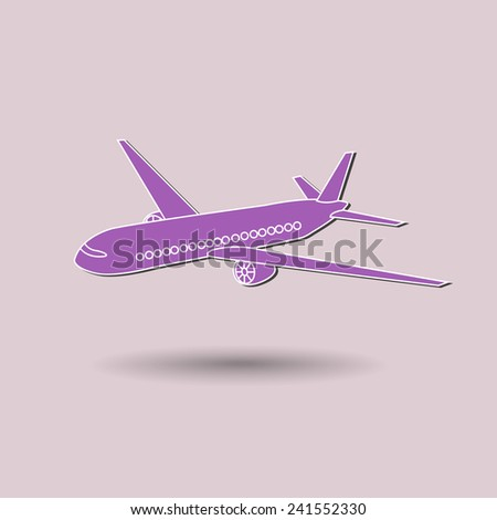 Vector illustration of airplane against color background. - stock vector