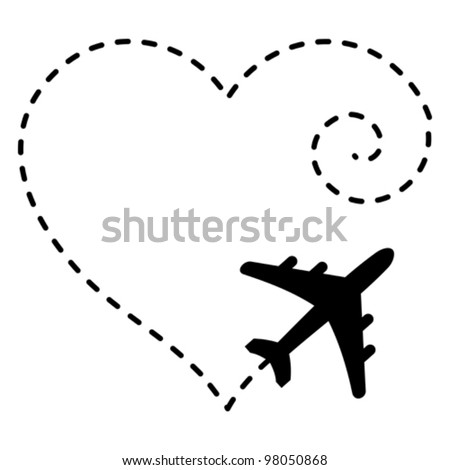 Vector Illustration of Airplane Drawing a Heart Shape in The Sky - stock vector