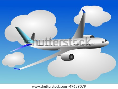 Vector illustration of airplane or airbus plane flying between the clouds in the sky