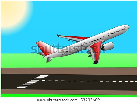 Vector illustration of airplane or aircraft  taking off from the runway with a beautiful sun - stock vector